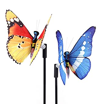 Rongbenyuan Solar Powered Garden Stakes,Butterfly Garden Lights 7 LED  Colors Waterproof For Garden,