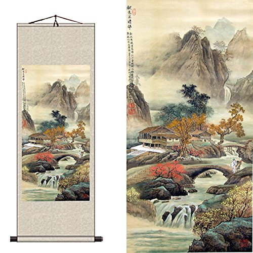 Qi Tian China Traditional Chinese Characteristics Silk scroll landscape flowers birds wall decoration paintings Murals foreigners gift specialty (Green, 45*140cm)
