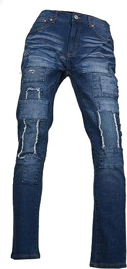 (メンズナーレ) MensNare メンズ ダメージ加工リペアテイストストレートデニム ジーパン ジーンズ テーパード R011203-01