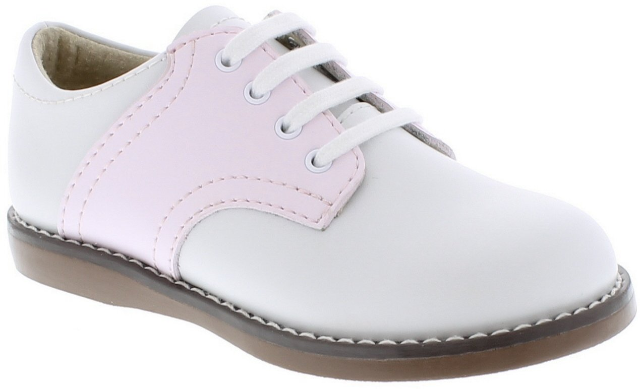 FOOTMATES Cheer Laceup Saddle White/Rose - 8413/5 Toddler M/W