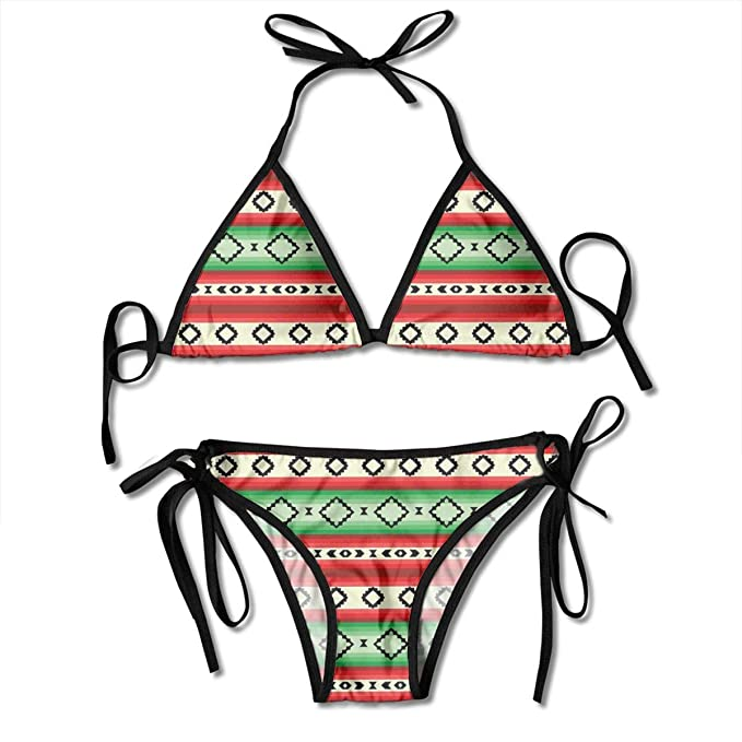f15328d46fd TYANG Women's Tie Side Bottom Padding Triangle Bikini Swimsuits,Mexican  Blanket Geometric Pattern Stripes and
