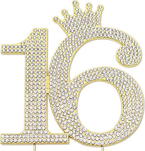 Sweet 16 Princess Cake Topper, 16th Birthday Party Decorations, Crystal Rhinestone Gold