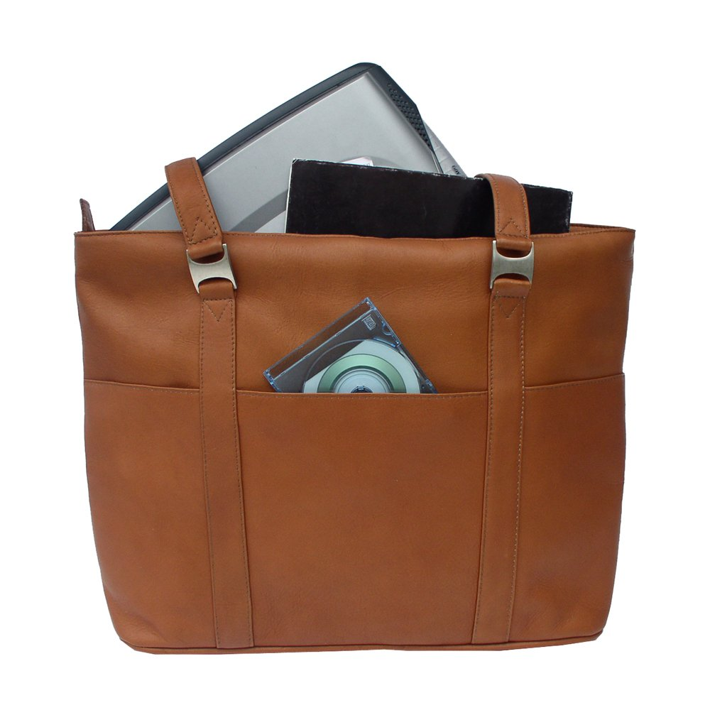 Piel Leather Computer Tote Bag, Saddle, One Size by Piel Leather (Image #3)