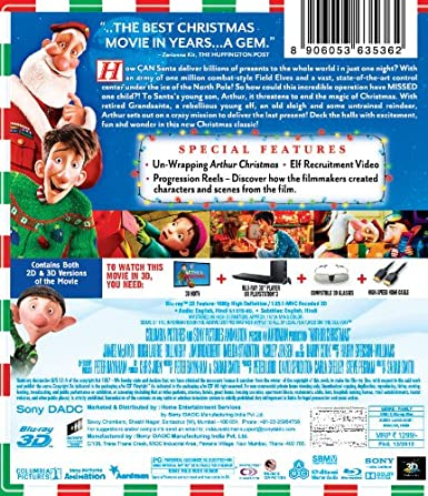 amazoncom arthur christmas blu ray 3d james mcavoy hugh laurie bill nighy jim broadbent imelda staunton ashley jensen marc wootton laura linney - Arthur Christmas Full Movie Online