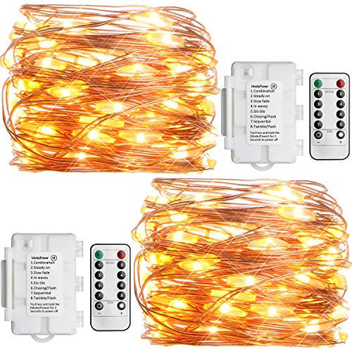 Koopower 2 Pack Outdoor String Lights 16ft 50 LEDs Battery Operated Fairy Lights 8 Mode Waterproof Copper Wire Lights for Bedroom, Garden, Easter, Xmax Decoration Warm White (Remote and Timer) (Lights On String Wire)