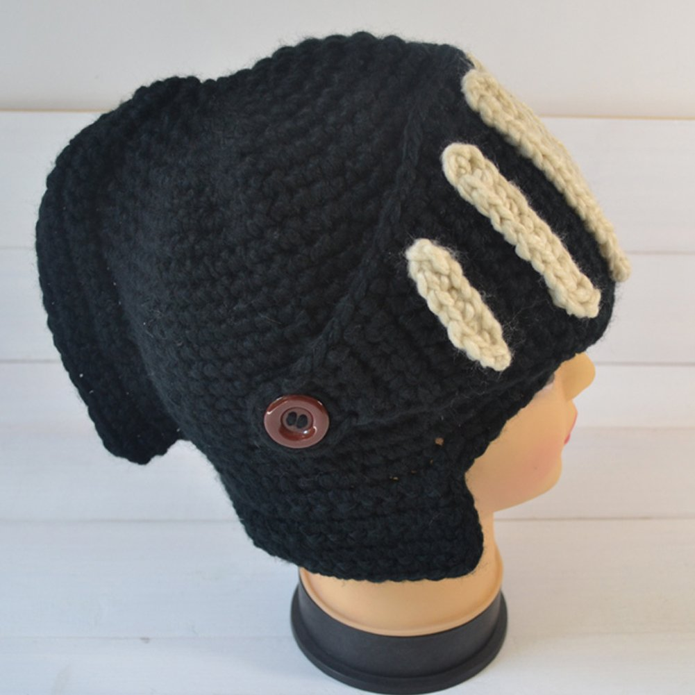 Leegoal Roman Knight Helmet Visor Cosplay Knit Beanie Hat Cap Wind
