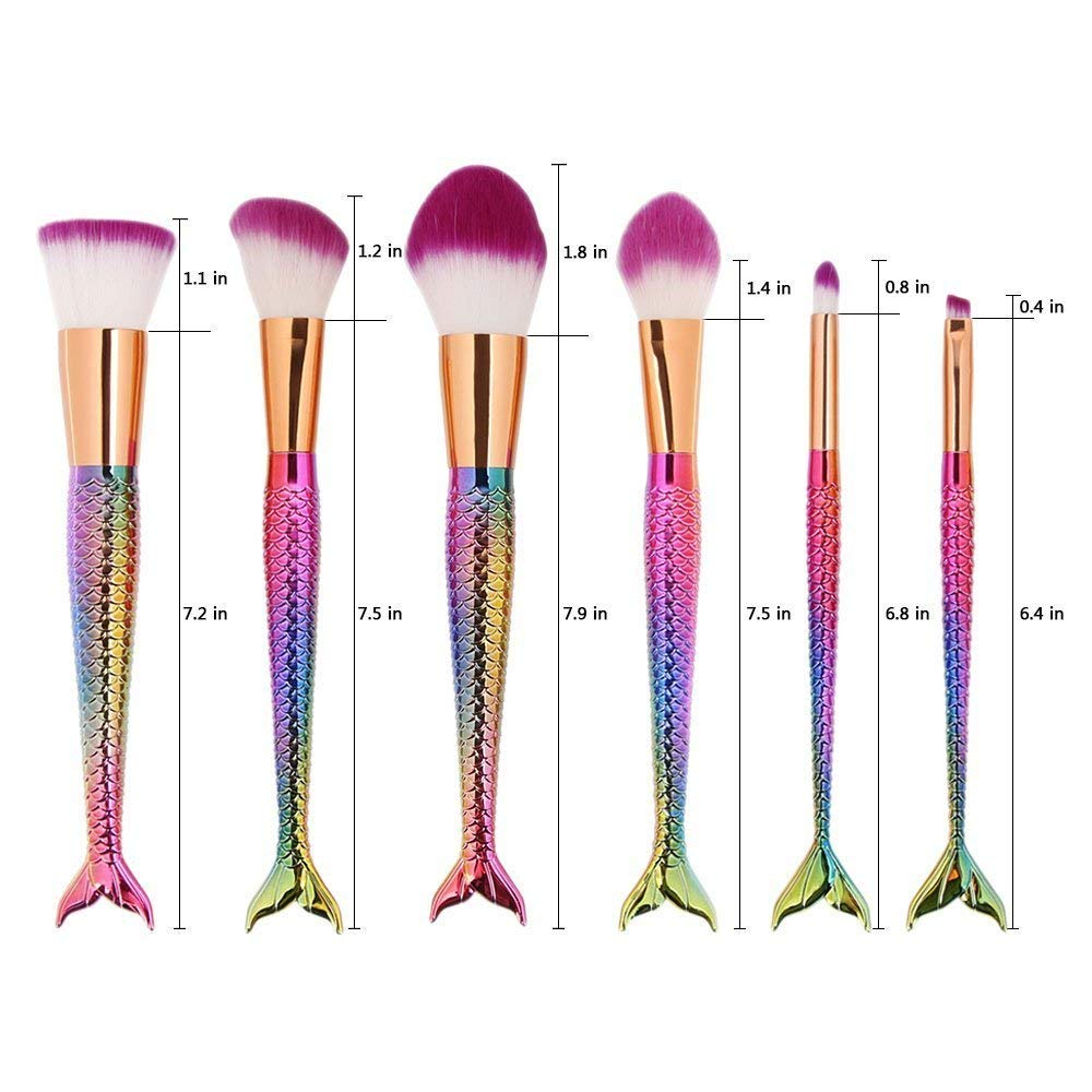 Mermaid Makeup Brush Set,6pcs Rainbow Unique Brush for Kids Lovely Makeup Brush for Girls Portable Beauty Cosmetic Tools Women Cosmetic Concealer Brush