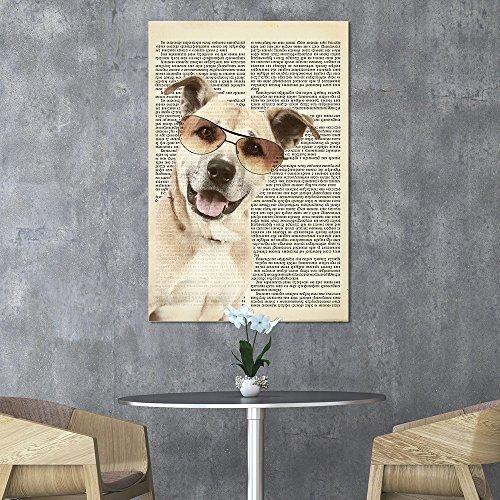 Creative Animal Figure on Vintage Paper Dog Wearing Sun Glasses