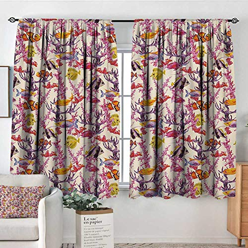 Mozenou Watercolor Custom Curtains Vintage Inspired Seaweed Coral Algee and Fish Illustration Retro Aquarium Theme Patterned Drape for Glass Door 55