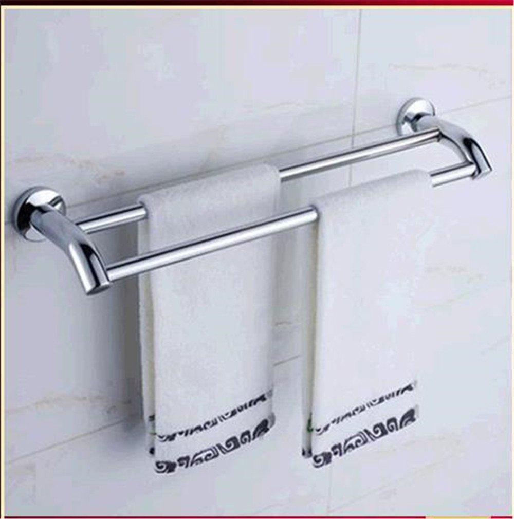 Yomiokla Bathroom Accessories - Kitchen, Toilet, Balcony and Bathroom Metal Towel Ring Stainless Steel Double bar Component is Robust and Sturdy air-to-Double Rod Length 60CM
