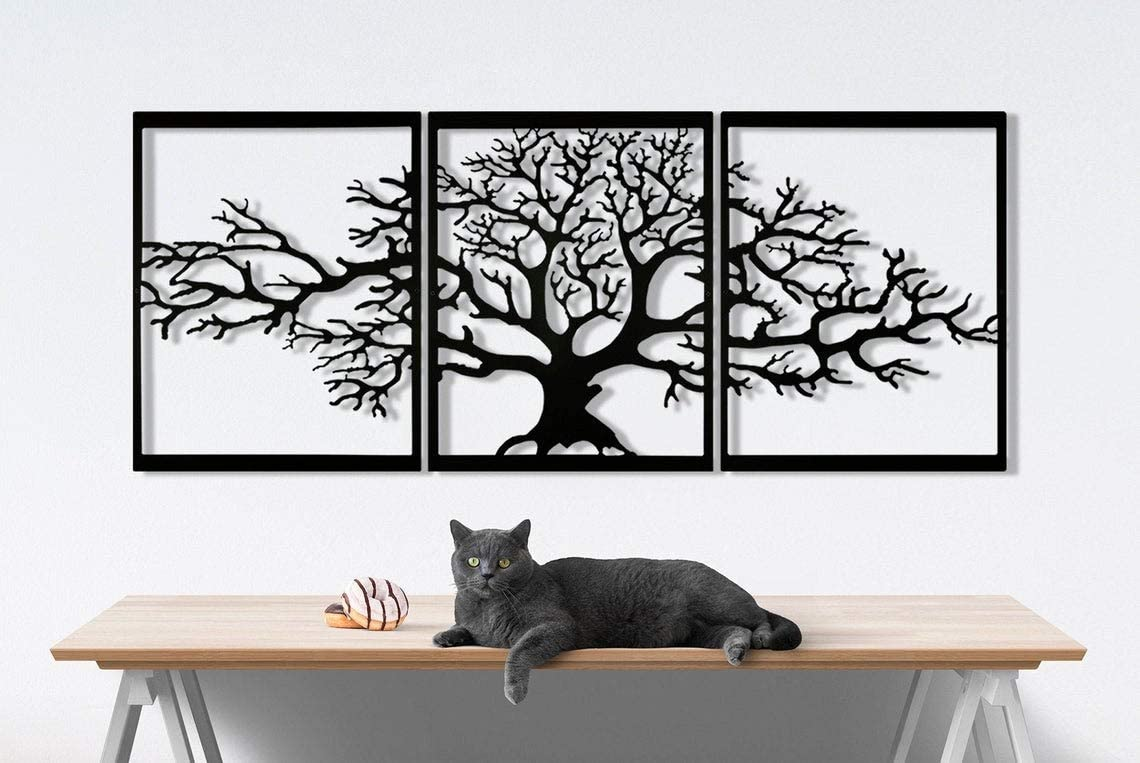 Tree of Life Metal Wall Decor, Home Metal Decor, Art Work, Wall Art, Metal Art, Wall Decoration , Home Art (19'' X 23'') (3 pcs.)
