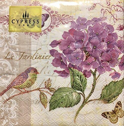 Cypress Home Cocktail Beverage Paper Napkins - Purple Hydrangea Butterflies and Bird Garden, 40 (Napkins Hydrangea)