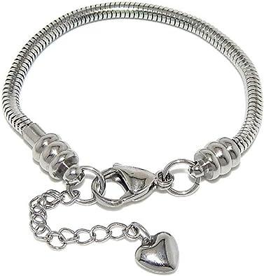 Stainless Steel Starter Charm Bracelet for Kids European Style Clasp