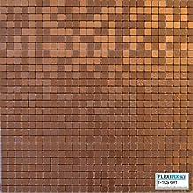 FLEXIPIXTILE, Modern Aluminum Mosaic Tile, Peel & Stick, Backsplash, Accent Wall, 1 sq.ft.,COPPER COIN
