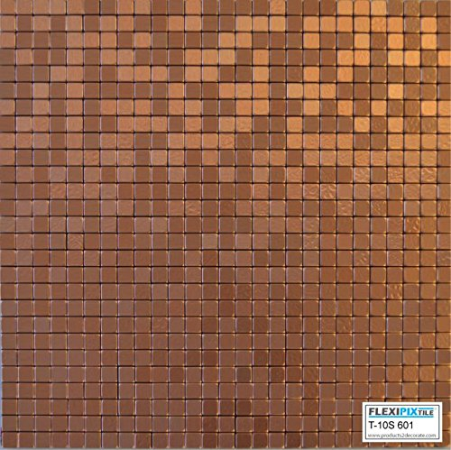 FLEXIPIXTILE, Modern Aluminum Mosaic Tile, Peel & Stick, Backsplash, Accent Wall, 1 sq.ft.,COPPER COIN T10S601-Copper Coin
