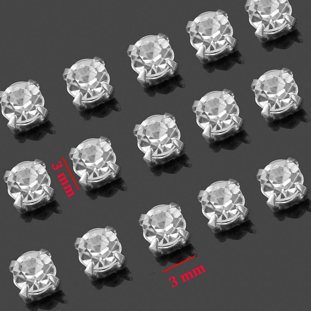 Jyukan 1440 Pcs Sew on Crystals Glass Rhinestones Silver Settings Rhinestone Embellishments for Clothing Wedding Dress,4mm