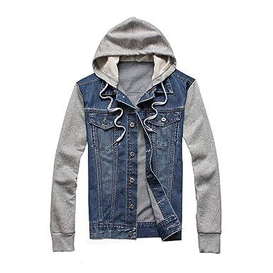 reputable site 6829b 5b763 UOM Giacca di Jeans con Cappuccio vestibilità Slim Felpa ...