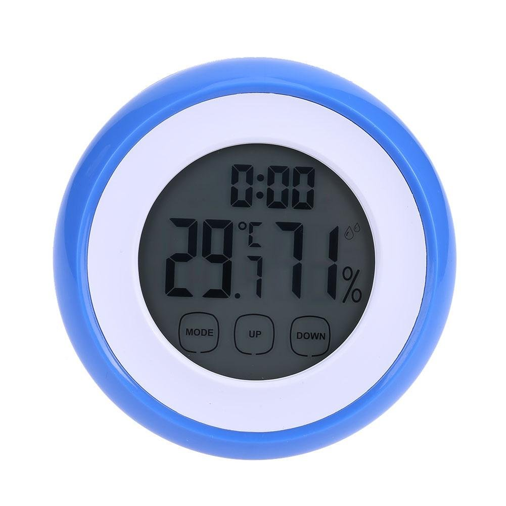 YouN Indoor Digital LCD Thermometer Hygrometer with Backlight Clock Touch Screen
