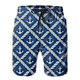 confirm vt Navy Anchor Chevron Men's/Boys Casual Swim Trunks Short Elastic Waist Beach Pants with Pockets