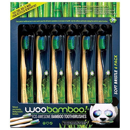 Toothbrushes by Woobamboo, Bamboo Toothbrushes in a Family size 6 pack with soft bristles