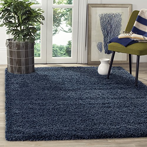 Safavieh California Premium Shag Collection SG151-7070 Navy Area Rug (3' x 5')