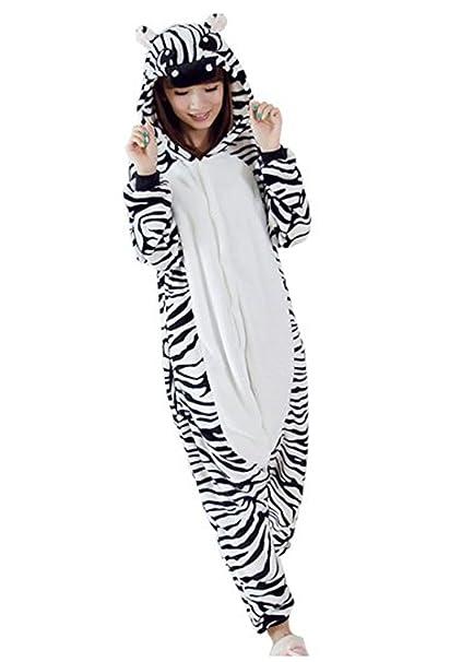 HSTYLE Adulto Unisex Mamelucos Kigurumi Pijamas Animal Trajes de Cosplay de dibujos animados ropa de dormir de Cebra: Amazon.es: Ropa y accesorios