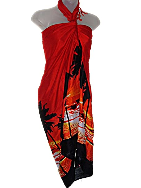 6dab230529 HAWAIIAN TROPICAL SUNSET SARONG BEACH COVER UP WRAP (One Size S-XL) at  Amazon Women's Clothing store: Swimwear