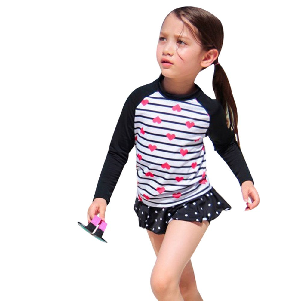 Little Girls Two Pieces Swimsuit Long Sleeve Bathing Suit Kids Rash Guards Swimwear Sun Protective UPF 50+