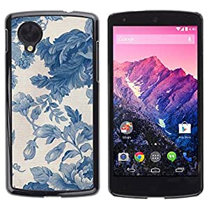 TopCaseStore / la caja del caucho duro de la cubierta de protección de la piel - Vignette Blue Porcelain Wallpaper - LG Google Nexus 5 D820 D821