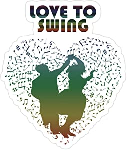 (3 PCs/Pack) Swing Dance Couple Silhouette Design Love to Swing 3x4 Inch Die-Cut Stickers Decals for Laptop Window Car Bumper Helmet Water Bottle