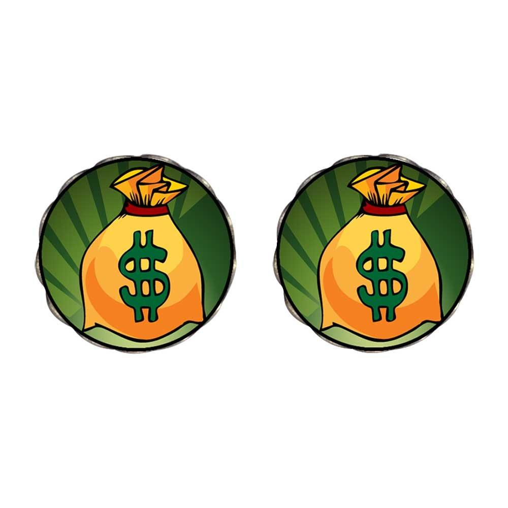 GiftJewelryShop Bronze Retro Style Hobbies Money Bag Photo Flower Stud Earrings 14mm Diameter
