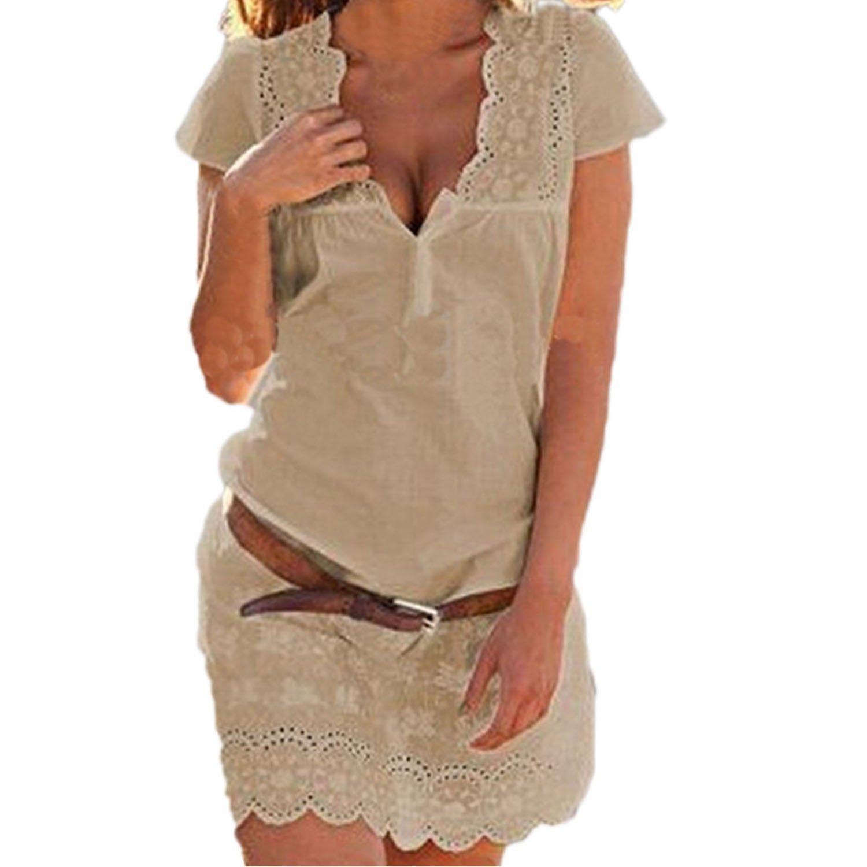 SUNNOW® Elegant Damen Sommerkleid Kurzarm Strandkleid Casual Spitze ...