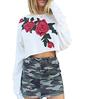 c3e1c53aed19c Sweat Imprimé Femme Sweat Shirt Fleur Pull Over Court Sweatshirt Sweat-Shirt  Col Rond Manche