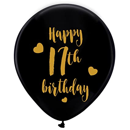 Amazon Black 17th Birthday Latex Balloons 12inch 16pcs Boy