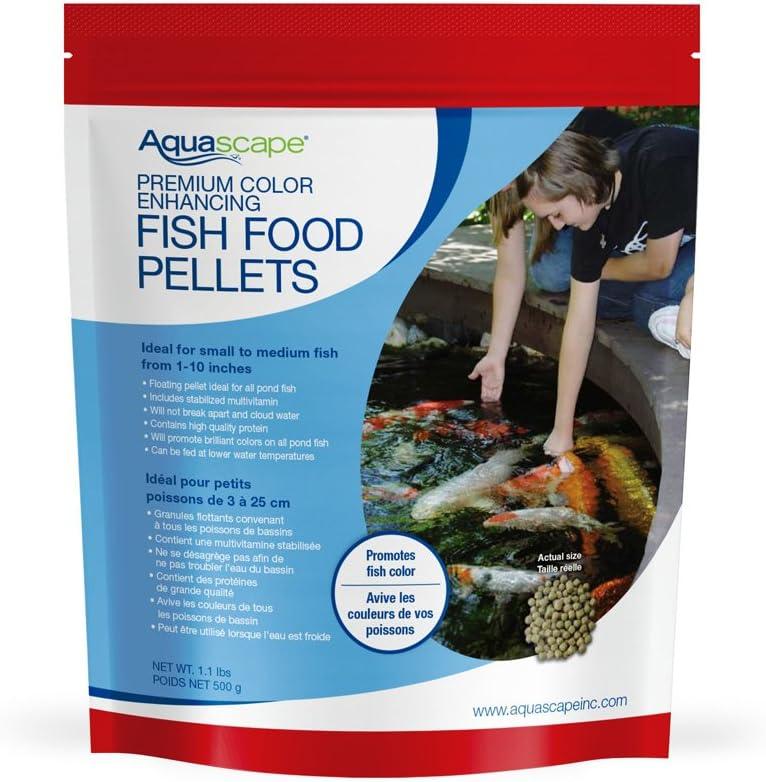 Aquascape Premium Color Enhancing Fish Food for Small to Medium Pond Fish, Medium Pellet, 1.1 Pounds | 98873