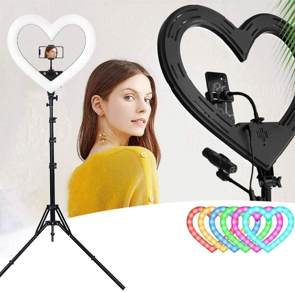 JINER 19 inch Selfie Ring Light with Tripod Stand 2 Modes LED Ringlight & Selfie Stick for Makeup/Photography/Live Streaming/YouTube TikTok, Compatible with iPhone/Android