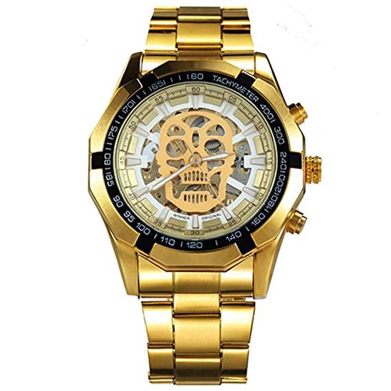 Winner - Reloj de Pulsera mecánico para Hombre, Esfera de Esqueleto Dorado Luminoso, Calavera: Amazon.es: Relojes