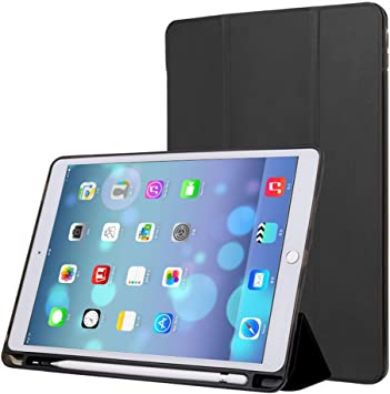 Amazon Com Pinhen Case For Ipad 9 7 2018 With Pencil Holder Ipad Case Trifold Stand With Shockproof Soft Tpu Back Cover With Auto Wake Sleep For Ipad 9 7 2018 2017 5th 6th Ipad 9 7 Black