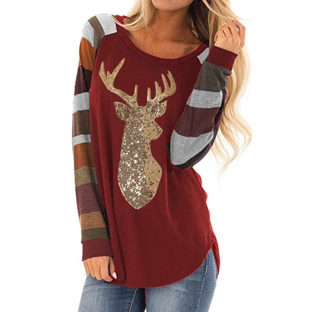 Sttech1 Women's Christmas Striped Sequin Deer O Neck Long Sleeve Top Blouse Tops