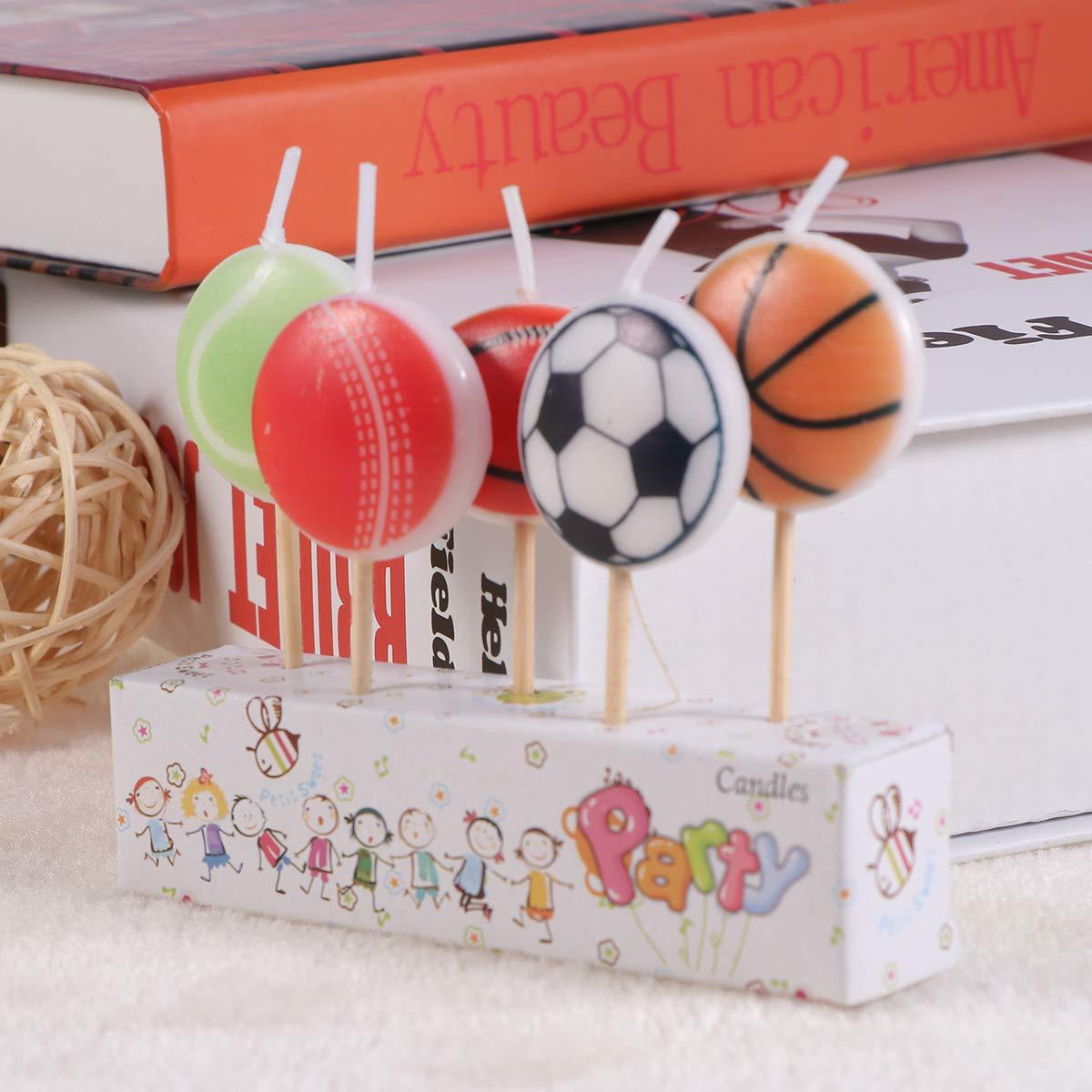 Amosfun - Juego de 5 Bolas de cumpleaños, balón de fútbol, Velas ...