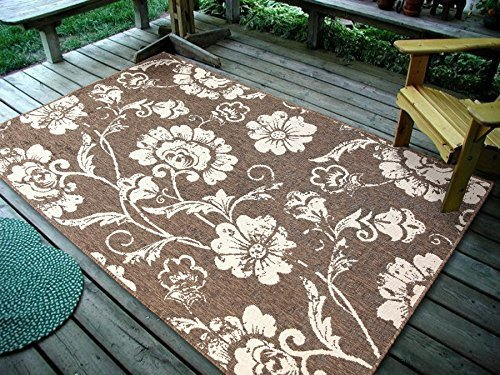 4''5X7' Floral Leaves Brown, Indoor & Outdoor Area Rug, Easy to Clean, UV protected & Fade Resistant Furnishmyplace 1110