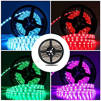 Led Strip Lights SMD5050 RGB Led Light Strips Multi-colors Led Strip Lighting Waterproof Led Ribbon Color Changing Strip Lights 16.4Ft/5m DIY Decoration for Holiday Party Bar Kitchen Ceiling