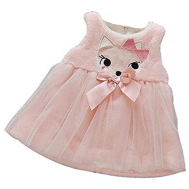 20be49ddd3d Kolylong Lovely Winter Newborn Kids Girl Cartoon Bow Thick Warm Princess  Dress (24M
