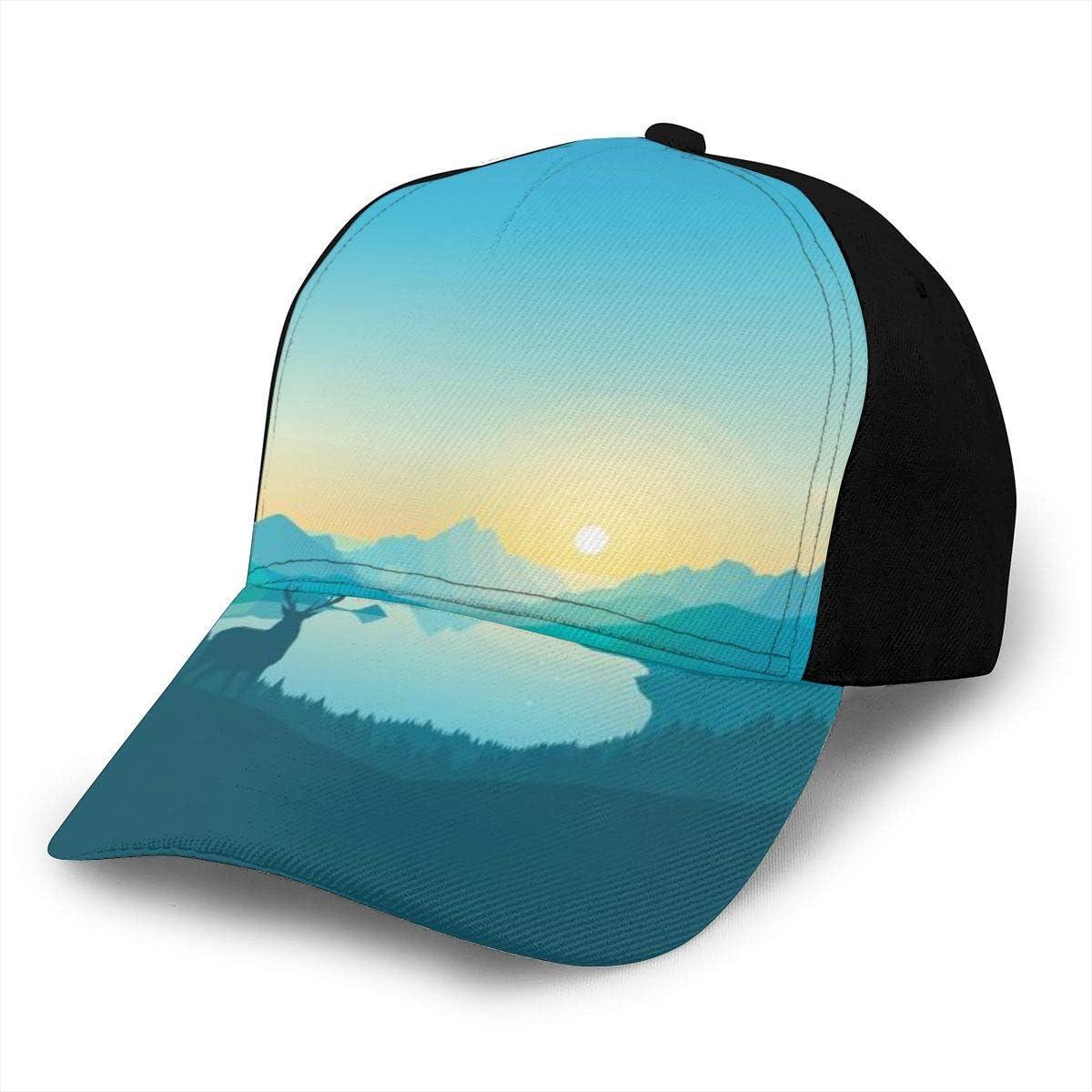 Blue Mountain Deer Silhouette Painting Classic Baseball Cap Men Women Dad Hat Twill Adjustable Size Black