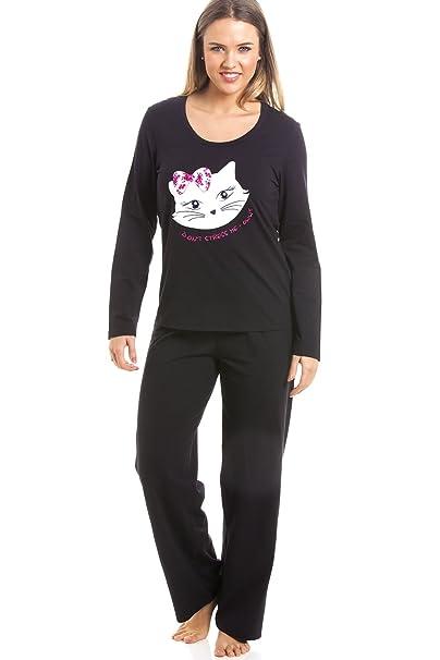 Camille Conjunto de Pijama Largo - Motivo Gato - Negro 38