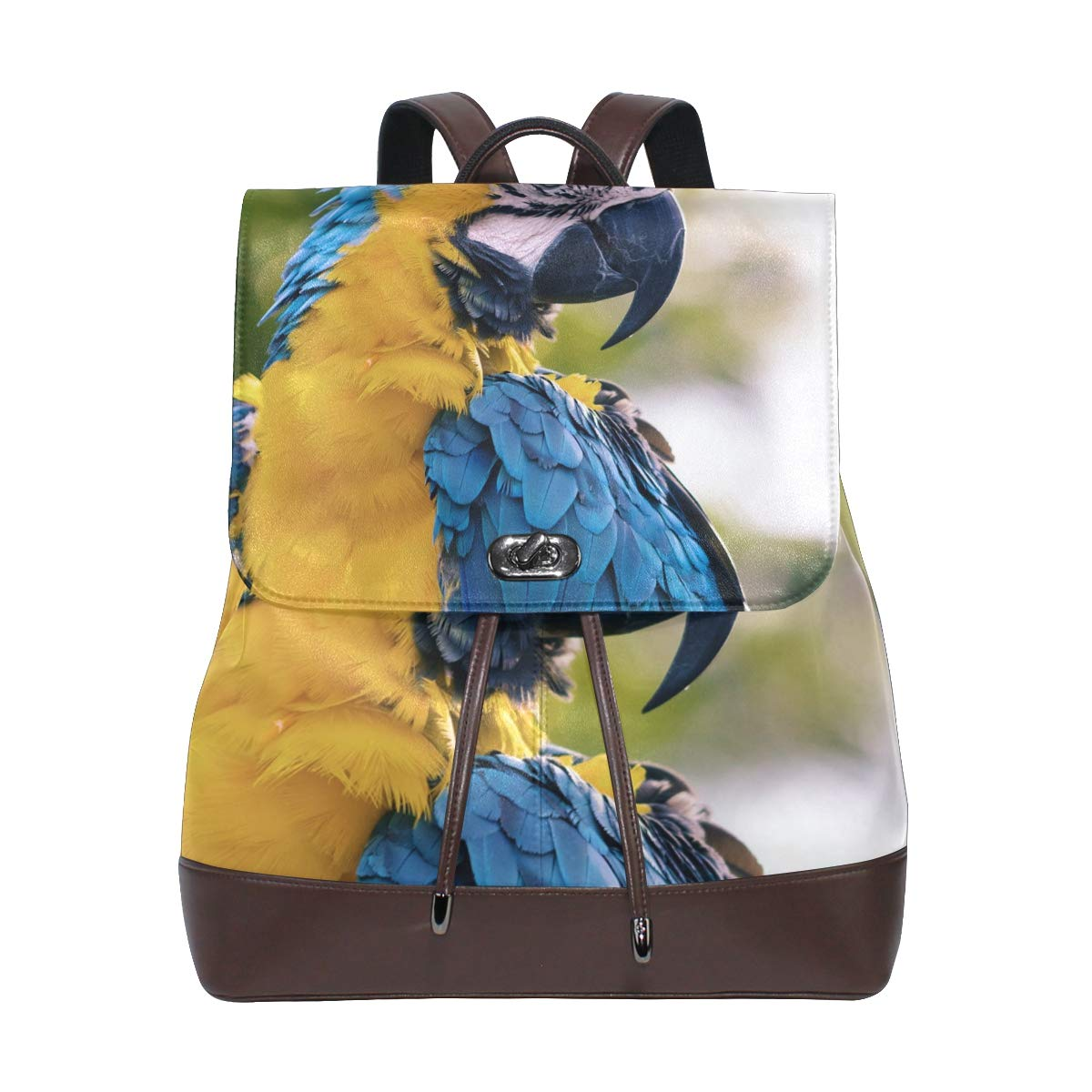 PU Leather Shoulder Bag,Blue Yellow Leather Bird Fashion Backpack,Portable Travel School Rucksack,Satchel with Top Handle
