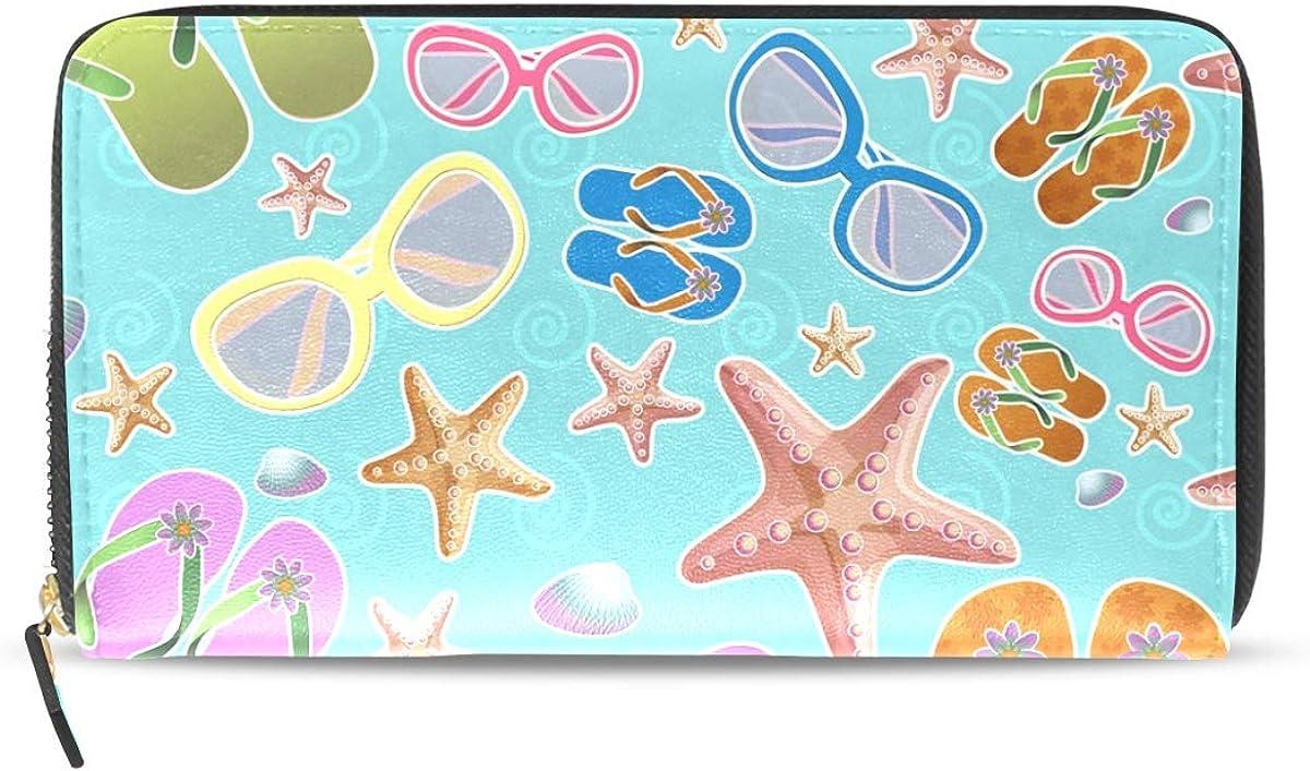 Womens Mens Large Capacity Long Wallet Card Holder Fashion Shell Sand Starfish Clutch Handbag