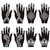 8 Sheets Henna Tattoo Stencil Self Adhesive Beautiful Body Art Hands Paint Designs Template for Temporary Indian Henna Tattoo