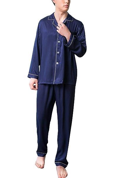 Pijamas De Los Hombres 2018 Parejas De Satén Tamaños Cómodos Pijamas De Dos Piezas Largas Pijamas
