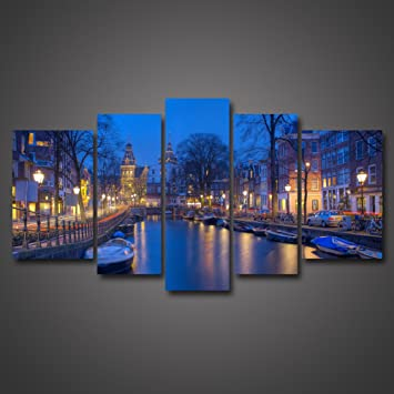 5 Panel Wall Art HD Printing Amsterdam Holland Canal Beautiful Night Landscape Photography Pictures Photo Paintings
